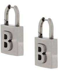 Balenciaga B-logo Padlock Earrings - Metallic