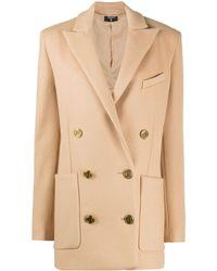 Balmain Короткое Двубортное Пальто - Коричневый