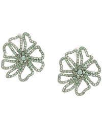 Oscar de la Renta Crystal-embellished Floral Brooch - Green