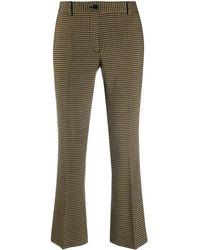 Alberto Biani Cropped Gingham Kickflare Trousers - Multicolour