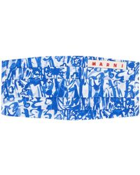 Marni Abstract Print Face Mask Cover - Blue