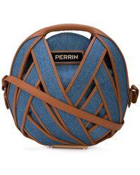 PERRIN Paris - Round Denim Woven Crossbody Bag - Lyst
