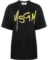 MSGM スパンコール ロゴ Tシャツ - ブラック