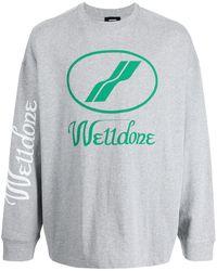 we11done Oversized-logo Crew-neck Sweatshirt - Grey