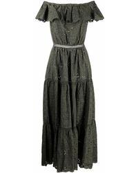 P.A.R.O.S.H. Расклешенное Платье С Открытыми Плечами - Зеленый
