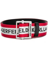 Karl Lagerfeld Logo Embroidered Striped Belt