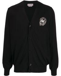 Alexander McQueen Кардиган С Нашивкой-логотипом И V-образным Вырезом - Черный