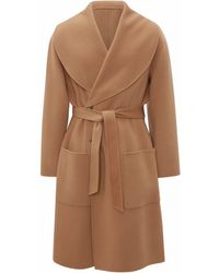 JW Anderson Shawl Collar Belted Coat - ブラウン