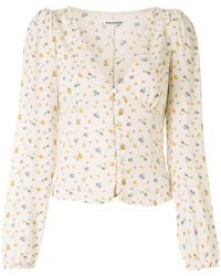 Reformation Nell Floral-print Blouse - White