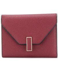 Valextra Folding Pebbled Wallet - Red