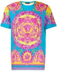Versace Men's Neon Baroque T-shirt - Blue