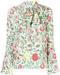 LaDoubleJ Floral Pussybow Blouse - Зеленый
