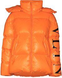 Valentino Vltn Logo Puffer Jacket - Orange