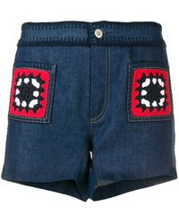 Miu Miu Crochet Patch Denim Shorts - Blue