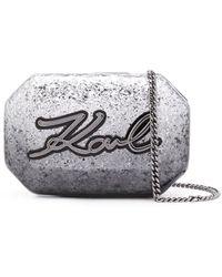 Karl Lagerfeld K Signature Glitter Clutch - Grijs