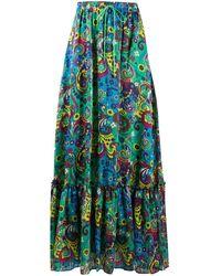 Pinko Paisley Print Maxi Skirt - Green