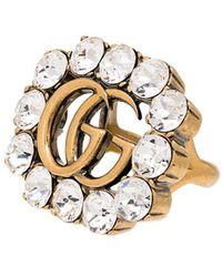 Gucci Декорированное Кольцо С Логотипом GG - Металлик