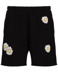 Natasha Zinko Pantalones cortos con estampado de margaritas - Negro