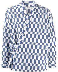 Ambush Checked Kimono Shirt - Blue