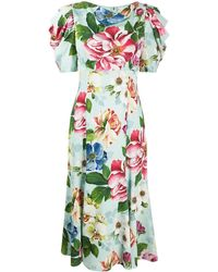 Dolce & Gabbana - Платье Миди Cady С Цветочным Принтом - Lyst