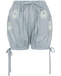 Innika Choo Embroidered Daisy Bloomer Shorts - Grijs