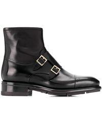 Santoni Moccasin Monk Strap Boots - Black