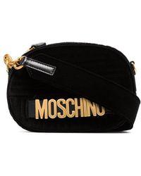 Moschino - Black Logo Quilted Velvet Bag - Lyst