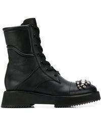 Jimmy Choo Ботинки Hadley С Кристаллами На Носке - Черный