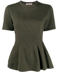 Marni Wavy Seamwork T-shirt - Green