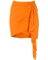 Alexandre Vauthier ストレッチジャージー ルーシュミニスカート - オレンジ