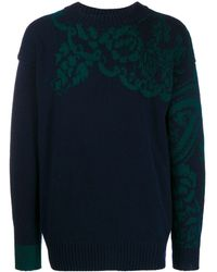 Sacai Floral Knitted Jumper - Blue