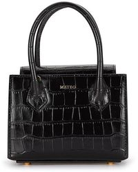 Mateo Diana Croc-effect Tote Bag - Black