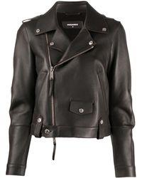 DSquared² Cropped Biker Jacket - Brown