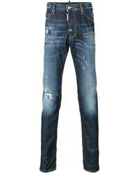 DSquared² Schmale 'Twins' Jeans mit ausgeblichenem Effekt - Blau