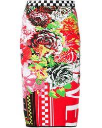 Versace プリント ペンシルスカート - レッド