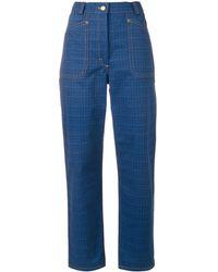 JW Anderson Check print trousers - Bleu