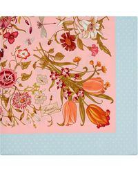 Gucci Silk Scarf With Flora Print - Pink