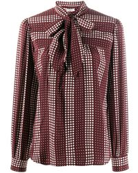 Ports 1961 Spotted Silk Pussy-bow Blouse - Red