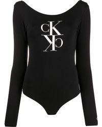 Calvin Klein Body mit Monogramm-Print - Schwarz