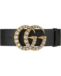 Gucci Leather Belt With Crystal Double G Buckle - Zwart