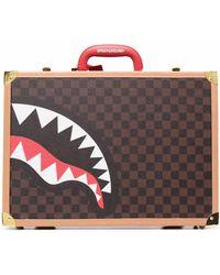 Sprayground チェック ロゴ スーツケース - ブラウン