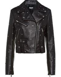Miu Miu Crystal-studded Biker Jacket - Black