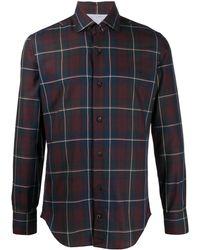 Eleventy - チェック スプレッドカラーシャツ - Lyst