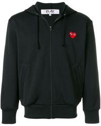 COMME DES GARÇONS PLAY Heart Logo Zipped Hoodie - Черный