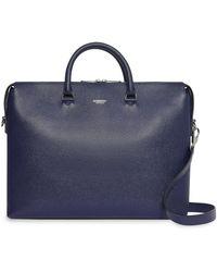 Burberry Triple Stud Grainy Leather Briefcase - Blue