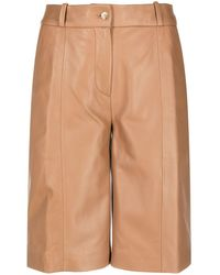 Loulou Studio Knee-length Leather Shorts - Brown