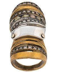 Loree Rodkin Anello in argento sterling e bronzo con decorazione - Metallizzato