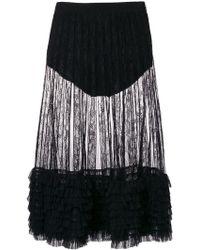 Amen - Ruffle Trim Sheer Midi Skirt - Lyst