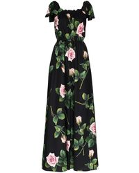 Dolce & Gabbana Floral-print Cotton Jumpsuit - Black