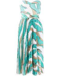 Elisabetta Franchi Chain-print Pleated Bustier Dress - Green